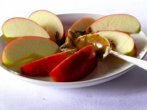 For a great mid-day snack consider apple wedges and almond butter.