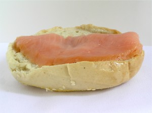 "When eating a sandwich, cut your carbs in half by eating it ""open faced"" with only one slice of bread or half a bagel."