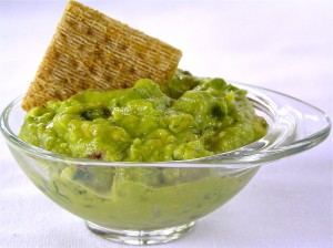 "Guacamole is rich in healthy monounsaturated fat that raises HDL, the ""good"" cholesterol. Guacamole with whole grain crackers or pita is a great power snack."