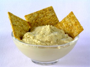 Hummus and whole wheat cracker-a low glycemic load snack, rich in fiber and protein, and delicious!